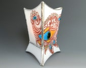 Peacock Paisley Mendhi Fused Glass Candle Holder Feather Eye White Aqua Amber