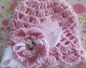 Pink spring baby hat - Flower Clip-Baby Hat-Toddler Hat-Spring Hat- Crochet Hat