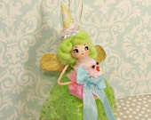 Easter ornament Easter pixie Easter fairy ooak art doll pink green blue pick fuzzy chick gold party decor spring decor vintage inspired