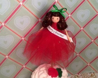 Merry Christmas doll ooak red and green cake topper Christmas decor christmas wreath pick christmas arrangement pick keepsake vintage retro