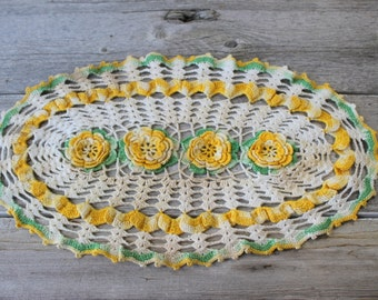 Sunny Yellow Crochet Doily, Hand Crocheted Doilies, Doillies,Vintage Oval Doily,