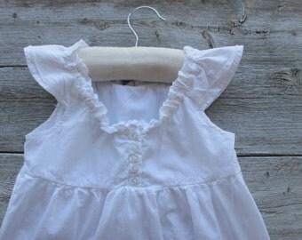 Vintage Soft White Ruffle Dress, Little Girls,  White Summer, Ruffle Shirt