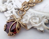 Deep red dragonfly necklace, Art Nouveau asymmetrical necklace, dragonfly jewelry, filigree jewelry statement necklace bug pendant necklace