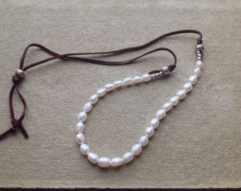 Pearl and  Leather Adjustable  Necklace,  Hills Tribe Sterling Silver