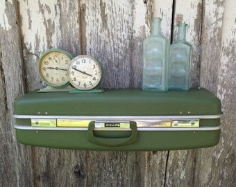 Vintage 1970's Era AIRWAY Avocado Green Upcycled Suitcase Luggage Repurposed into a Wall Shelf