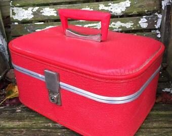Vintage Lipstick Red 1960's Era Train Case Small Suitcase Luggage