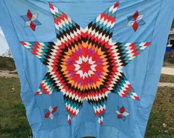 Vintage Machine Pieced Mixed Fabrics Lone Star Quilt Top Set in Blue