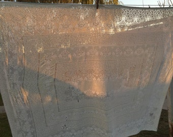 Vintage Antique White Lace Cutter Tablecloth