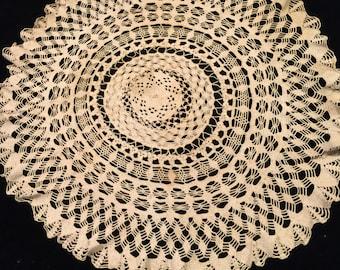 Vintage Large Ecru Hand Crochet Doily