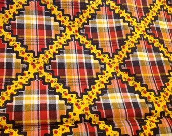 5 1/2 Yards of Vintage Yellow, Red and Black Plaid Cotton Blend Fabric with Yellow and Red Flower Rick Rack Look Lattice Print