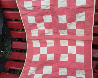 Vintage Pink and Cream Nine Patch Pattern Doll or Baby Quilt