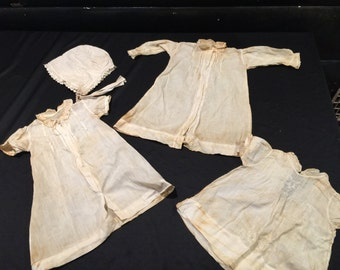 Lot of Antique/Vintage Girl's White Dresses and Bonnet