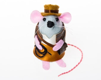 Indiana Jones Mouse - gift for father's day super dad husband boyfriend hero uncle brother granddad grandpa cute art mouse rat hamster mice