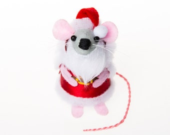 Santa Mouse - collectable Christmas art rat artists mice cute felt mouse soft sculpture toy stuffed plush doll ornament gift for xmas