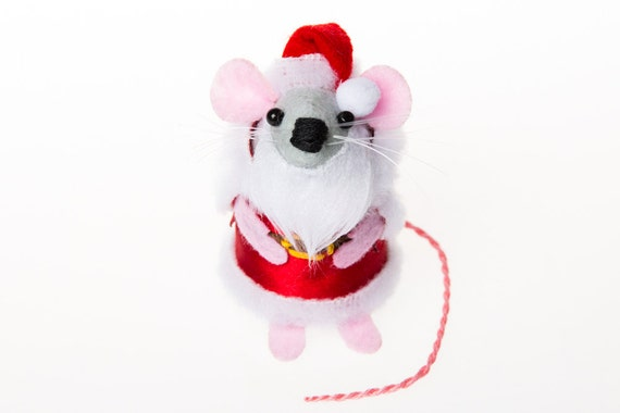 Santa Christmas Mouse Ornament Christmas Tree Ornament cute xmas tree decoration Artisan felt hamster santa rat gift Father Christmas