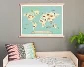 Global Compassion World Map Wall Art,24x18 or 36x24 Print + Wood Frame Kit,Kids Animal World Map,Gender Neutral Nursery
