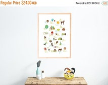 25% OFF SALE English Alphabet Print 11x14 Nursery Wall Art, AnimalThemed, Kid's Art Decor, Gender Neutral Nursery, ABC, Children's Wal