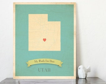 SALE 20% Off CHOOSE YOUR State My Roots Map 11x14 Customized Print, Christmas gift, Holiday gift, Baby Shower, Family art, kids room, United