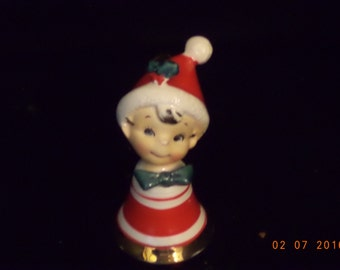 Vintage Lefton boy in red pixie elf  numbered 1146 Christmas bell