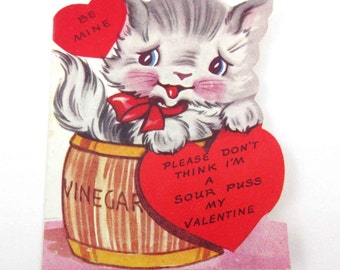 Vintage Children's Valentine Greeting Card with Cute Grey Cat in Vinegar Barrel by A-Meri-Card