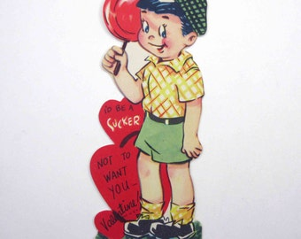 Vintage Children's Novelty Valentine Greeting Card with Boy Holding a Red Lollipop or Sucker Candy