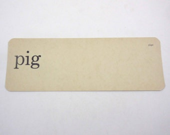 Vintage 1950s Children's Ivory School Flash Card with Word for Pig by Scott, Foresman and Co.