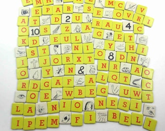 Vintage Yellow and Red Anagrams Letter Tiles or Game Pieces and Ivory Picture Tiles Set of 140