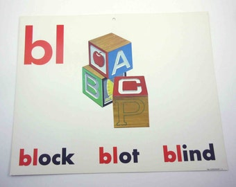 Vintage 1960s Childrens Giant Sized School Flash Card with Picture and Word for Blocks