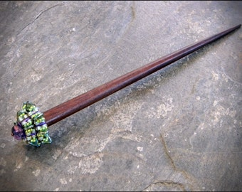 Shawl Pin or Hair Stick Hairstick - Beaded sweater clip or hair stix - Beaded by Hannah Rosner