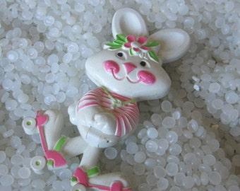 Vintage White Rabbit on pink roller skates Avon perfume Pin Pal