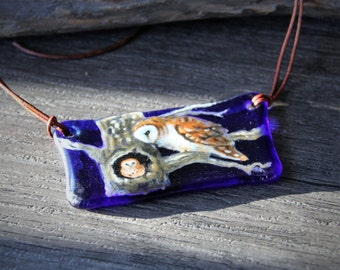 Owls on the tree  Friends necklace -  Barn Owl and mouse - fused glass pendant