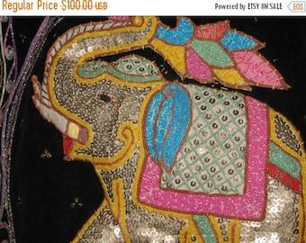 HUGE SALE Retro 70's Vest, Ornate Elephants, Lucky Elephant, Embroidered, Needlework, Burmese Art, Embroidery, Glitzy, Burma Bling, Good Luc