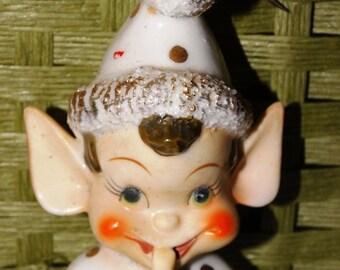 On Sale Christmas Elf Playing Instrument Gnome, Elf, Pixie, Christmas Elf Holiday Decor Porcelain Dresden Trim Wreath Decor Table Decor Gree