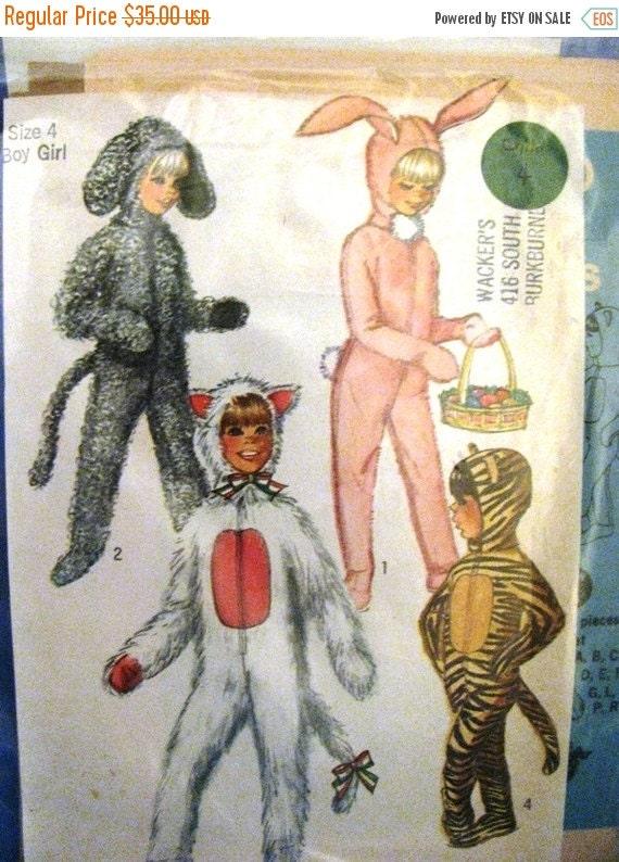 HUGE SALE Vintage Halloween Costume Pattern, Bunny, Tiger, Cat, Dog Simplicity, 1950's. Pink Bunny Rabbit, Easter Rabbit, Size 4 Boy or Girl