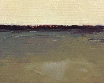 STILL, oil painting landscape original oil, 100% charity donation, original painting  5x7 canvas panel, clouds, ocean