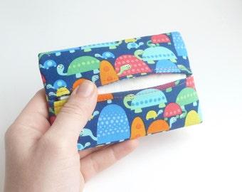 woman pocket travel tissue. kleenex holder. cute turtle gift for her. teacher small gift. tween teen mini pouch