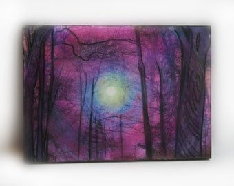 Aceo original, Winter sunrise, 2.50x3.50, tree art, unique office gift, Thank you gift, desk decor, rustic decor, #trees, #aceo original