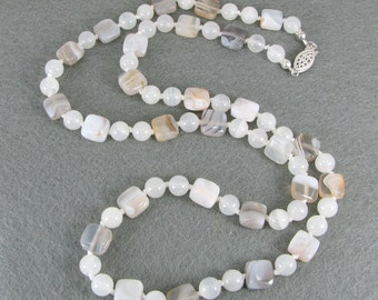 Long Hand-Knotted Natural Agate, Snow Quartz, and Sterling Silver Necklace