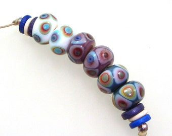 Handmade Lampwork Glass Beads - Muncie! 3 pairs. Dot reactions on cream, violet, denim blue. Stacked dots, earring pairs, reactive colors.
