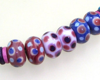 Handmade Lampwork Glass Beads - Conroe! 3 pairs. Stacked dots on raspberry, lilac, purple.