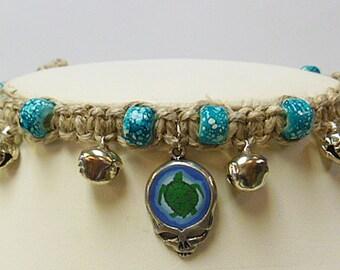 Grateful Dead Steal Your Terrapin  Stealie Hemp  Anklet SYF  handmade macrame jewelry  hippie deadhead