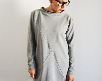 Tunic sweatshirt in cotton for women, long sweatshirts,tunic dress, women's clothing, tunic sweatshirt, organic cotton
