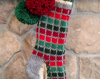 Old Fashioned Hand Knit Christmas Stocking Two Tone Red Green Windowpane Stripes Fancy Chain link border Gray heel toe trim