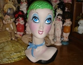 Lime Twiggy Blythe Mannequin Head One of a Kind Hand Painted Special Price