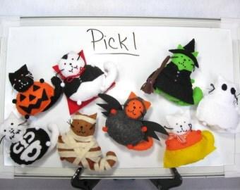 Halloween magnet, Pick 1, Halloween cat, Felt magnet, Fridge magnet, For the office, Cat lover gift, Cat art, Home decor, Stocking stuffer