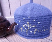 Mulled Grape and Navy Striped Wool Knit Felted Teapot Cozy, Cosy, Lined, Embroidered