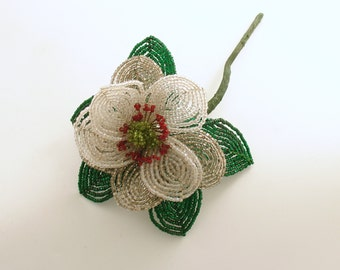 Vintage French Beaded Flower Camellia Wedding Bouquet