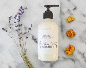 Lavender Organic Body Lotion with Calendula and Hemp Seed Oil Preservative Free Moisturizer, All Natural Essential Oils, Hand Lotion