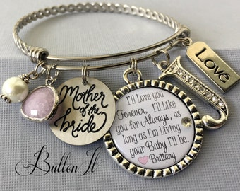 Mother of the BRIDE gift, Mother of the Groom gift, PERSONALIZED jewelry, Mother daughter jewelry, wedding gift, BANGLE bracelet, rehearsal