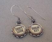 Cream Typewriter Key Earrings SHIFT LOCK and TABULAR Key Typewriter key Jewelry Steampunk boho earrings